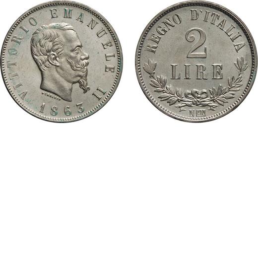 REGNO DITALIA. VITTORIO EMANUELE II. 2 LIRE VALORE 1863  Napoli. Argento, 9,97 gr, 27 mm, qFDC. Ex V