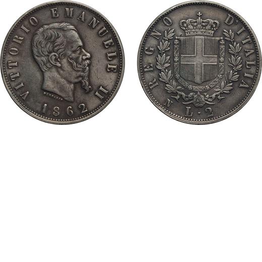 REGNO DITALIA. VITTORIO EMANUELE II. 2 LIRE STEMMA 1862  Napoli. Argento, 9,98 gr, 27 mm, MB/BB. Mol