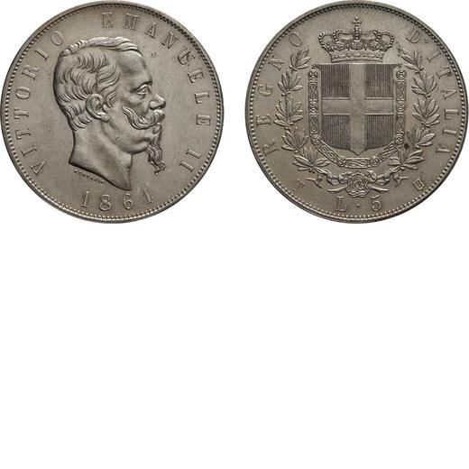 REGNO DITALIA. VITTORIO EMANUELE II. 5 LIRE STEMMA 1861 Torino. Argento, 25,05 gr, 37 mm, qSPL. Molt