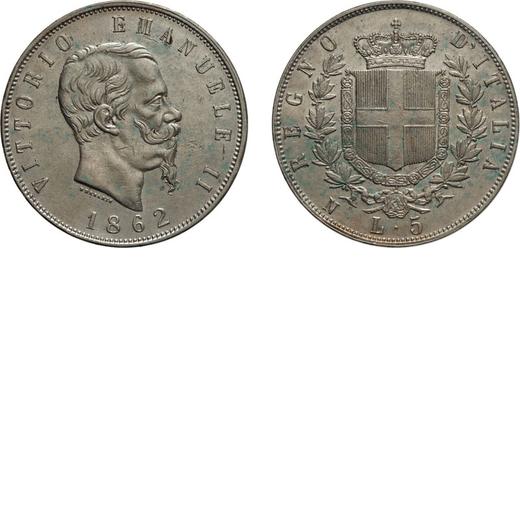 REGNO DITALIA. VITTORIO EMANUELE II. 5 LIRE STEMMA 1862 Napoli. Argento, 25,07 gr, 37 mm, qBB. Rara.