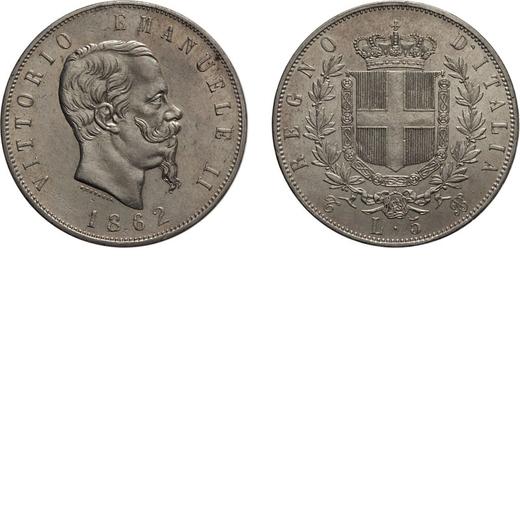 REGNO DITALIA. VITTORIO EMANUELE II. 5 LIRE STEMMA 1862 Torino. Argento, 24,97 gr, 37 mm, qSPL. Molt