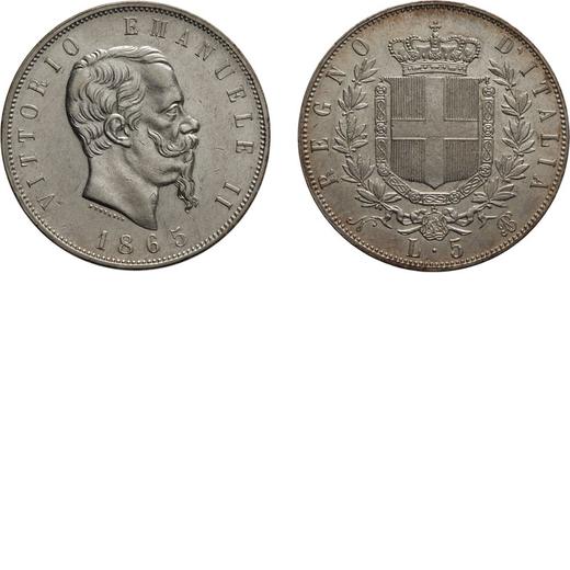 REGNO DITALIA. VITTORIO EMANUELE II. 5 LIRE STEMMA 1865 Napoli. Argento, 25,01 gr, 37 mm, SPL. Rara.