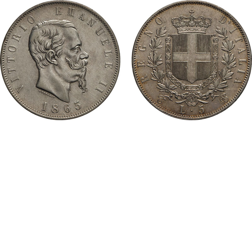 REGNO DITALIA. VITTORIO EMANUELE II. 5 LIRE STEMMA 1865 Torino. Argento, 25,02 gr, 37 mm, BB.<br>D: