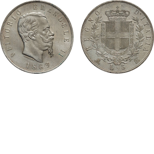 REGNO DITALIA. VITTORIO EMANUELE II. 5 LIRE STEMMA 1869 Milano. Argento, 25,06 gr, 37 mm, SPL. Ex Va
