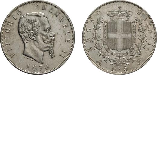 REGNO DITALIA. VITTORIO EMANUELE II. 5 LIRE STEMMA 1870 Milano. Argento, 24,96 gr, 37 mm, SPL. Ex Va