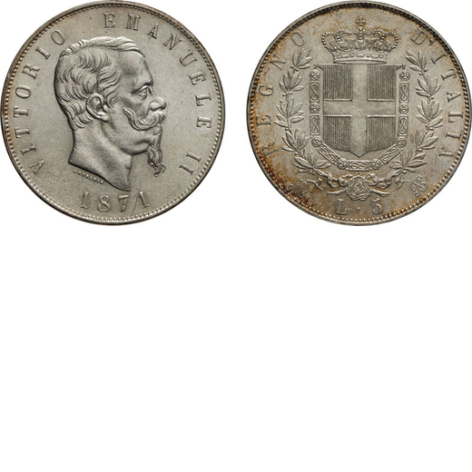 REGNO DITALIA. VITTORIO EMANUELE II. 5 LIRE STEMMA 1871 Milano. Argento, 25 gr, 37 mm, qSPL.<br>D: V