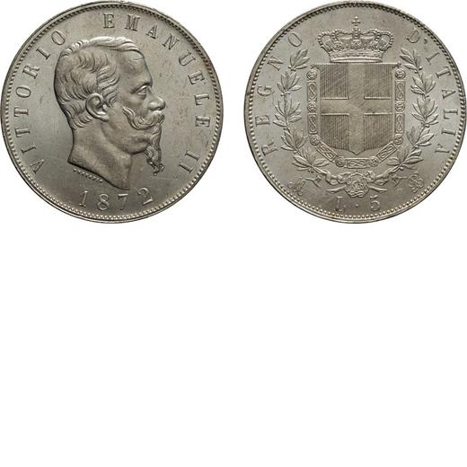 REGNO DITALIA. VITTORIO EMANUELE II. 5 LIRE STEMMA 1872 Milano. Argento, 25 gr, 37 mm, FDC.<br>D: VI