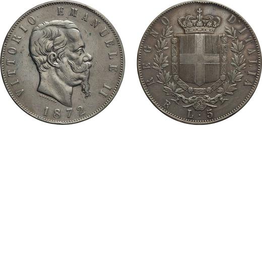 REGNO DITALIA. VITTORIO EMANUELE II. 5 LIRE STEMMA 1872 Roma. Argento, 24,89 gr,37 mm, colpetto sul
