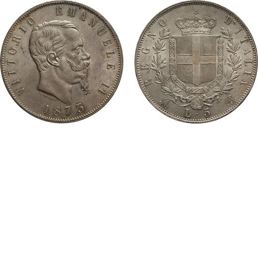 REGNO DITALIA. VITTORIO EMANUELE II. 5 LIRE STEMMA 1873 Milano. Argento, 25,04 gr, 37 mm, SPL. Ex Va