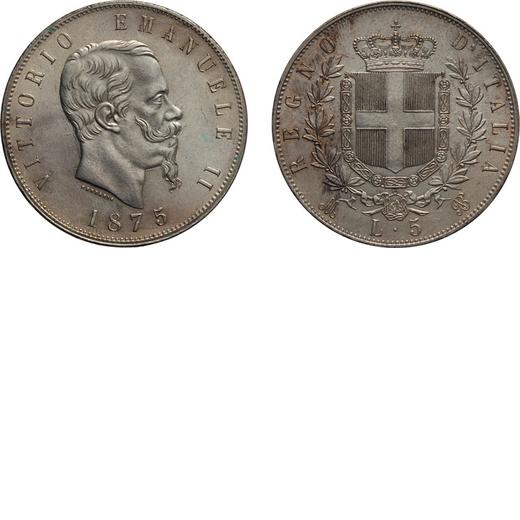 REGNO DITALIA. VITTORIO EMANUELE II. 5 LIRE STEMMA 1875 Milano. Argento, 25,08 gr, 37 mm, qFDC. Ex V