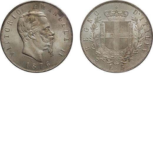 REGNO DITALIA. VITTORIO EMANUELE II. 5 LIRE STEMMA 1876 Roma. Argento, 25,03 gr, 37 mm, FDC. Ex Nomi