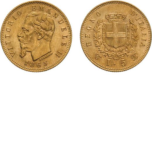 REGNO DITALIA. VITTORIO EMANUELE II. 5 LIRE ORO 1865  Torino. Oro, 1,62 gr, 17 mm, SPL+. Rara.<br>D: