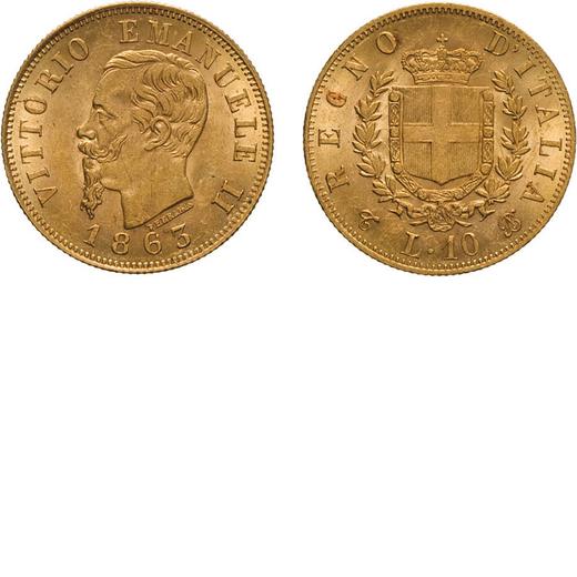 REGNO DITALIA. VITTORIO EMANUELE II. 10 LIRE ORO 1863  Torino. Oro, 3,24 gr, 18,5 mm, qFDC.<br>D: VI