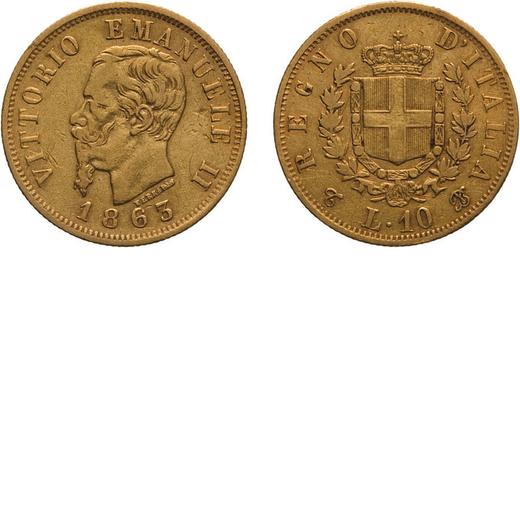 REGNO DITALIA. VITTORIO EMANUELE II. 10 LIRE ORO 1863  Torino. Oro, 3,18 gr, 19 mm, MB+.<br>D: VITTO