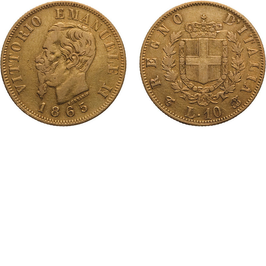 REGNO DITALIA. VITTORIO EMANUELE II. 10 LIRE ORO 1865  Torino. Oro, 3,17 gr, 18,5 mm, MB. Molto Rara