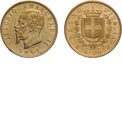 REGNO DITALIA. VITTORIO EMANUELE II. 20 LIRE ORO 1861  Torino. Oro, 6,43 gr, 21 mm, SPL+. Rara.<br>D