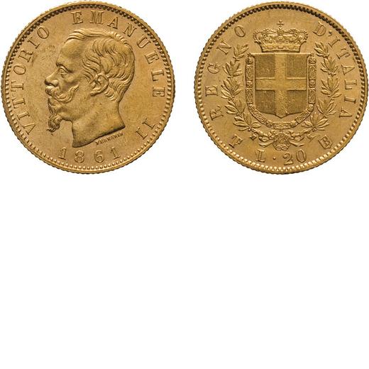REGNO DITALIA. VITTORIO EMANUELE II. 20 LIRE ORO 1861 T su F Torino. Oro, 6,45 gr, 21 mm, SPL+. Molt