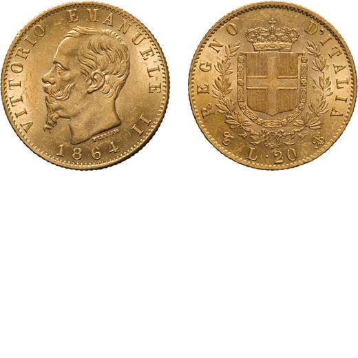REGNO DITALIA. VITTORIO EMANUELE II. 20 LIRE ORO 1864 Torino. Oro, 6,46 gr, 21 mm, SPL.<br>D: VITTOR