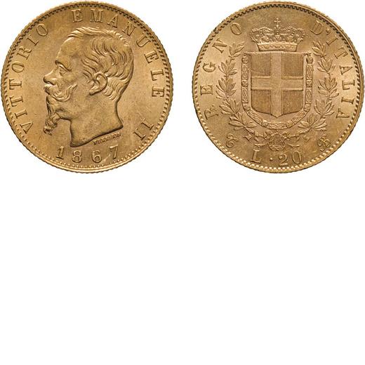 REGNO DITALIA. VITTORIO EMANUELE II. 20 LIRE ORO 1867  Torino. Oro, 6,45 gr, 21 mm, SPL+.<br>D: VITT