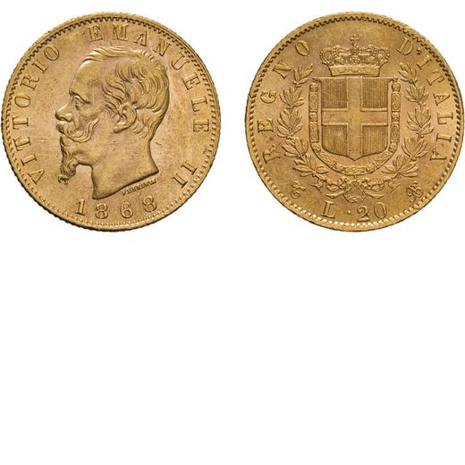 REGNO DITALIA. VITTORIO EMANUELE II. 20 LIRE ORO 1868  Torino. Oro, 6,44 gr, 21 mm, SPL+.<br>D: VITT