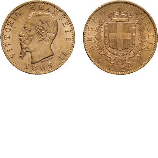 REGNO DITALIA. VITTORIO EMANUELE II. 20 LIRE ORO 1869  Torino. Oro, 6,46 gr, 21 mm, SPL+.<br>D: VITT