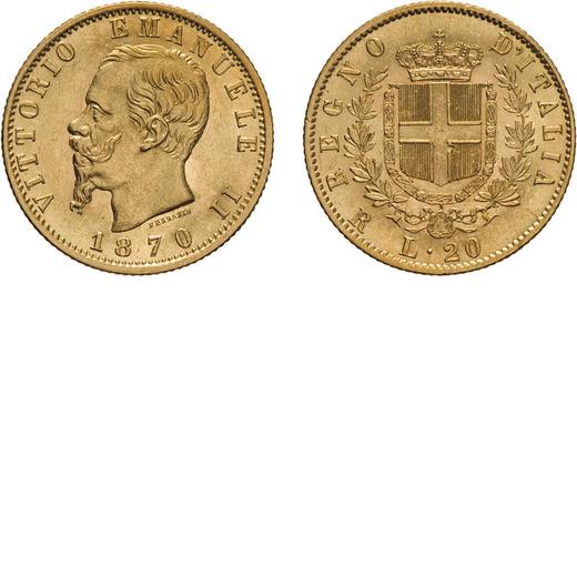 REGNO DITALIA. VITTORIO EMANUELE II. 20 LIRE ORO 1870  Roma. Oro, 6,44 gr, 21 mm, SPL. Rarissima.<br