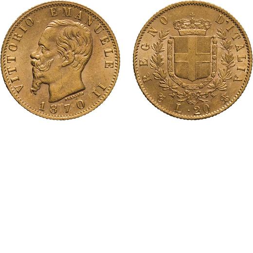 REGNO DITALIA. VITTORIO EMANUELE II. 20 LIRE ORO 1870  Torino. Oro, 6,46 gr, 21 mm, SPL. Molto Rara.