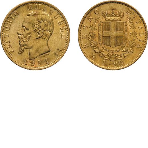 REGNO DITALIA. VITTORIO EMANUELE II. 20 LIRE ORO 1871  Roma. Oro, 6,44 gr, 21 mm, BB+. Molto Rara.<b