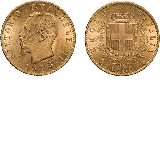 REGNO DITALIA. VITTORIO EMANUELE II. 20 LIRE ORO 1873  Milano. Oro, 6,45 gr, 21 mm, SPL.<br>D: VITTO