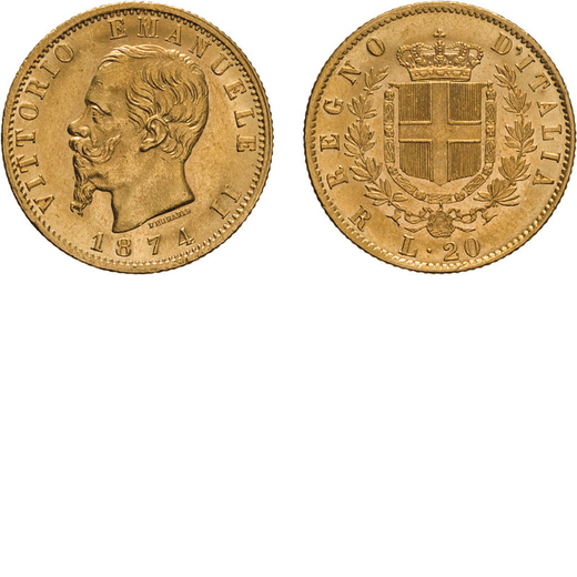 REGNO DITALIA. VITTORIO EMANUELE II. 20 LIRE ORO 1874 Roma. Oro, 6,45 gr, 21 mm, colpetti sul bordo