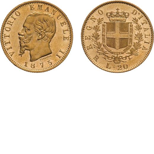 REGNO DITALIA. VITTORIO EMANUELE II. 20 LIRE ORO 1875  Roma. Oro, 6,45 gr, 21 mm, BB+/qSPL. Rara.<br