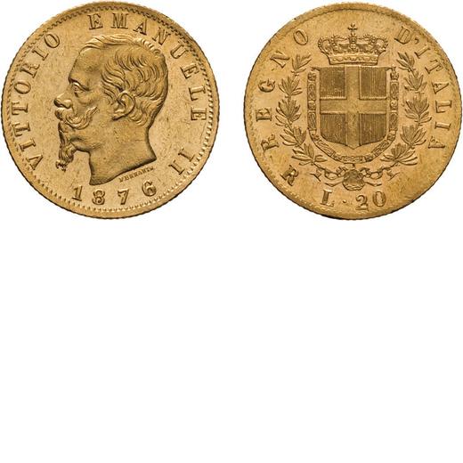 REGNO DITALIA. VITTORIO EMANUELE II. 20 LIRE ORO 1876  Roma. Oro, 6,43 gr, 21 mm, BB.<br>D: VITTORIO