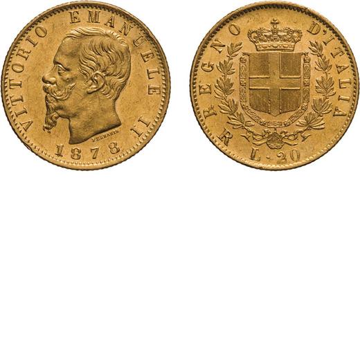 REGNO DITALIA. VITTORIO EMANUELE II. 20 LIRE ORO 1878 Roma. Oro, 6,45 gr, 21 mm, SPL+. Ex Nomisma 45