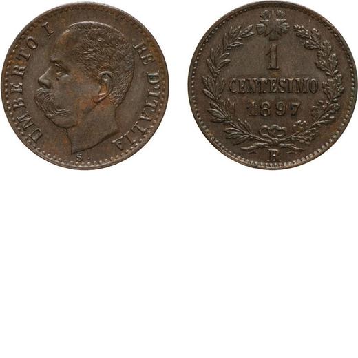 REGNO DITALIA. UMBERTO I. 1 CENTESIMO 1897  Roma. Rame, 1,02 gr, 15 mm, qSPL. Rara.<br>D: UMBERTO I