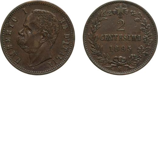 REGNO DITALIA. UMBERTO I. 2 CENTESIMI 1895  Roma. Rame, 2 gr, 20 mm, qSPL. Rara.<br>D: UMBERTO I RE