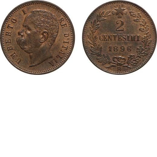 REGNO DITALIA. UMBERTO I. 2 CENTESIMI 1896  Roma. Rame, 1,92 gr, 20 mm, FDC. Molto Rara.<br>D: UMBER