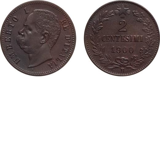 REGNO DITALIA. UMBERTO I. 2 CENTESIMI 1900  Roma. Rame, 1,93 gr, 20 mm, qFDC.<br>D: UMBERTO I RE DIT