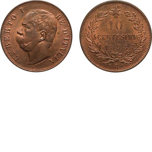 REGNO DITALIA. UMBERTO I. 10 CENTESIMI 1893  Roma. Rame, 10,20 gr, 30 mm, qFDC. Rara.<br>D: UMBERTO