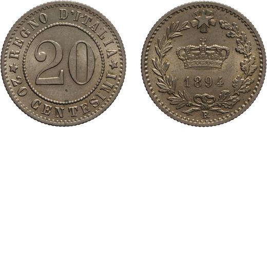 REGNO DITALIA. UMBERTO I. 20 CENTESIMI 1894  Roma. Cupronichel, 4,10 gr, 21mm, qFDC. Ex Varesi 55.<b