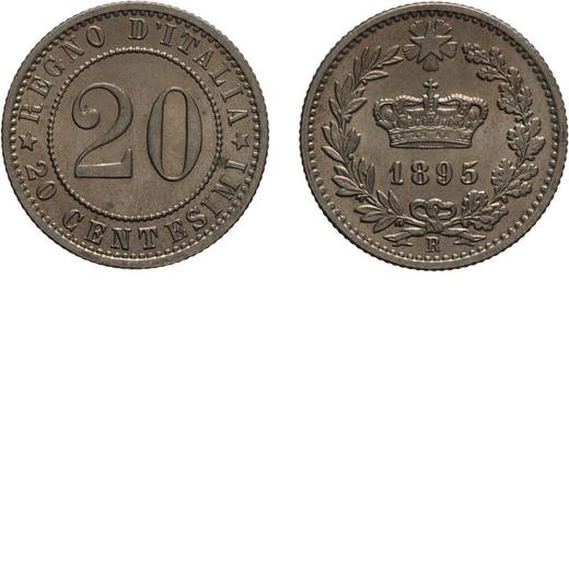 REGNO DITALIA. UMBERTO I. 20 CENTESIMI 1895  Roma. Cupronichel, 3,93 gr, 21 mm, qFDC.<br>D: REGNO DI