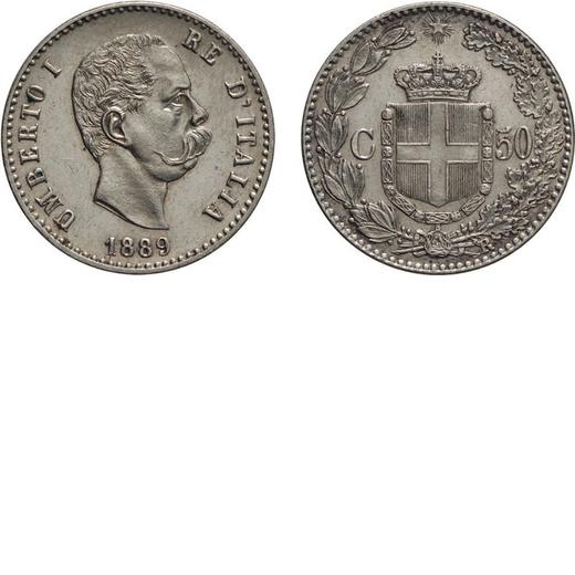 REGNO DITALIA. UMBERTO I. 50 CENTESIMI 1889  Roma. Argento, 2,50 gr, 18 mm, FDC. Rara.<br>D: UMBERTO