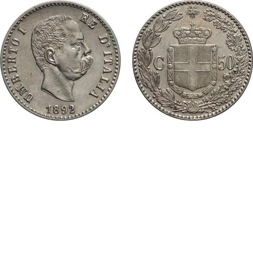REGNO DITALIA. UMBERTO I. 50 CENTESIMI 1892  Roma. Argento, 2,49 gr, 18 mm, SPL+. Molto Rara.<br>D: