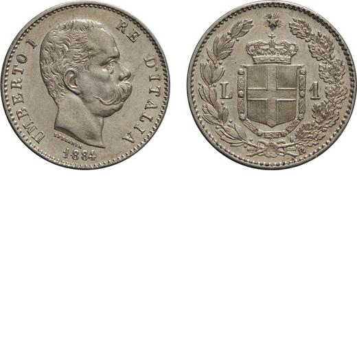 REGNO DITALIA. UMBERTO I. 1 LIRA 1884  Roma. Argento, 5,01 gr, 23 mm, qFDC. Rara.<br>D: UMBERTO I RE