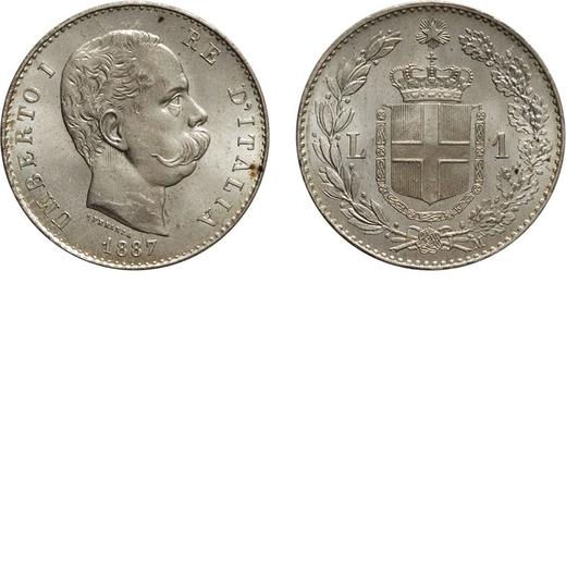 REGNO DITALIA. UMBERTO I. 1 LIRA 1887  Milano. Argento, 5 gr, 23 mm, qFDC. Ex Varesi 55.<br>D: UMBER