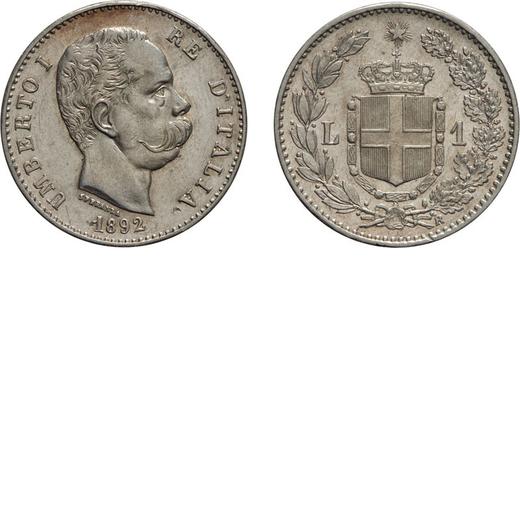 REGNO DITALIA. UMBERTO I. 1 LIRA 1892 Roma. Argento, 5 gr, 23 mm, colpetti sul bordo e nel campo, SP
