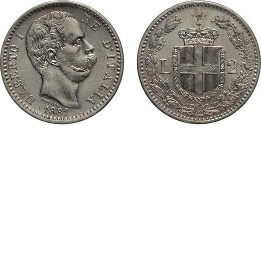 REGNO DITALIA. UMBERTO I. 2 LIRE 1881 Roma. Argento, 9,94 gr, 27 mm, segnetto sullo scudo al rovesci
