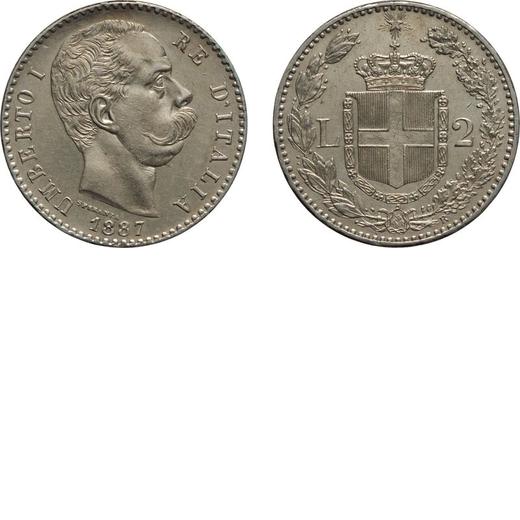 REGNO DITALIA. UMBERTO I. 2 LIRE 1887 Roma. Argento, 10 gr, 27 mm, SPL+.<br>D: UMBERTO I RE DITALIA