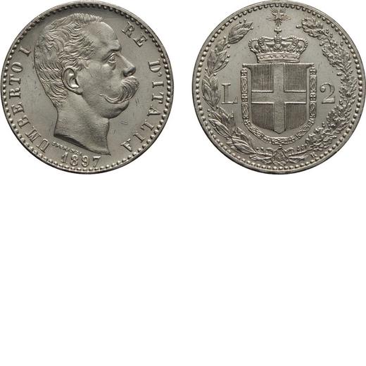 REGNO DITALIA. UMBERTO I. 2 LIRE 1897 Roma. Argento, 10,02 gr, 27 mm, minimi colpetti al diritto, qF