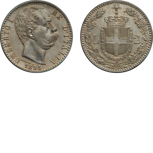 REGNO DITALIA. UMBERTO I. 2 LIRE 1898 Roma. Argento, 9,96 gr, 27 mm, SPL+. Rara.<br>D: UMBERTO I RE