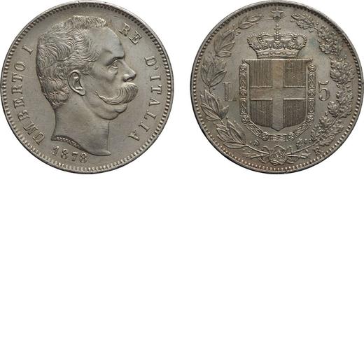 REGNO DITALIA. UMBERTO I. 5 LIRE 1878 Roma. Argento, 24,98 gr, 37 mm, colpetti sul bordo e nel campo